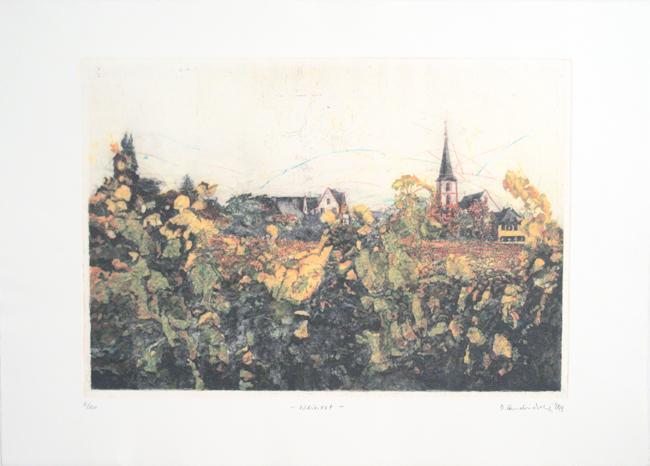 Dietlinde Andruchowicz, Radierung, `Weinort`, 6/120. 9/, 1999, sign., 79 x 57 cm
