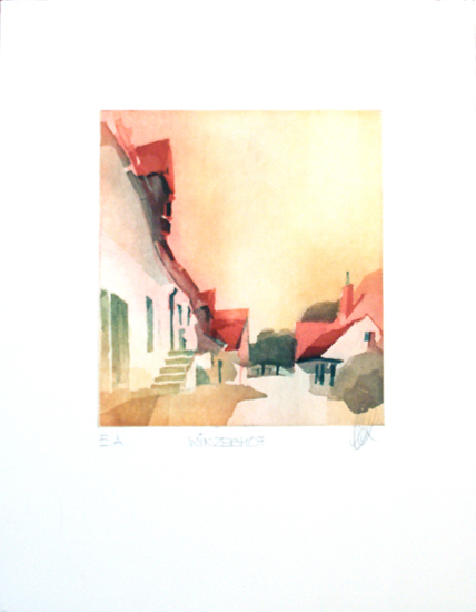 Josef K. Biersack, Farbradierung auf Bütten, `Winzerhof`, E.A. sign., Blattgröße: 40 x 50 cm