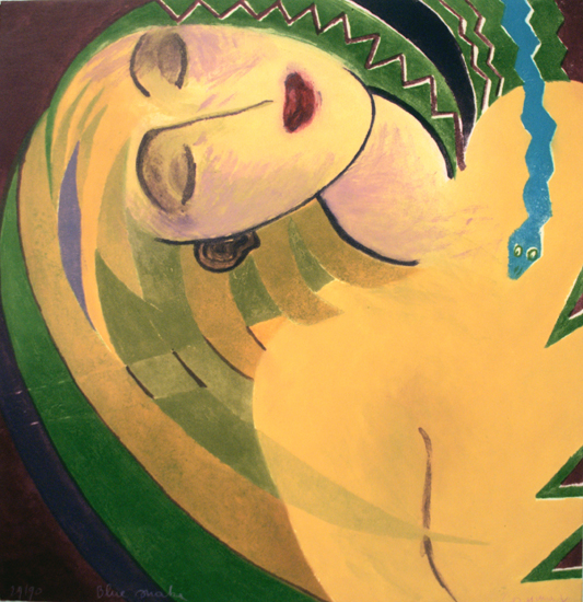 Katrien Caymax, Brüssel, 1994, Blue snake, Farbrad., 29/90., sign., 57 x 59 cm