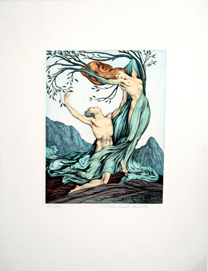 Michael Fuchs, Paris, Apoll und Daphne, Aquatinta- Rad., 209 / 300, sign., 50 x 62 cm