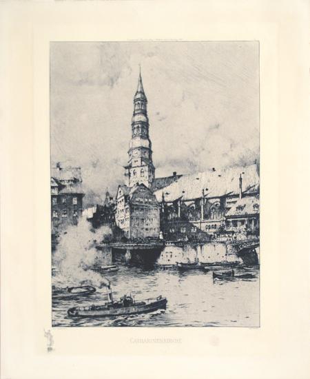 Luigi Kasimir, Wien,1881-1962, `Catharinenkirche` Alt Hamburg, Radierung, 1908 gedruckt für die Commerter`sche Kunsthandlung, Hamburg