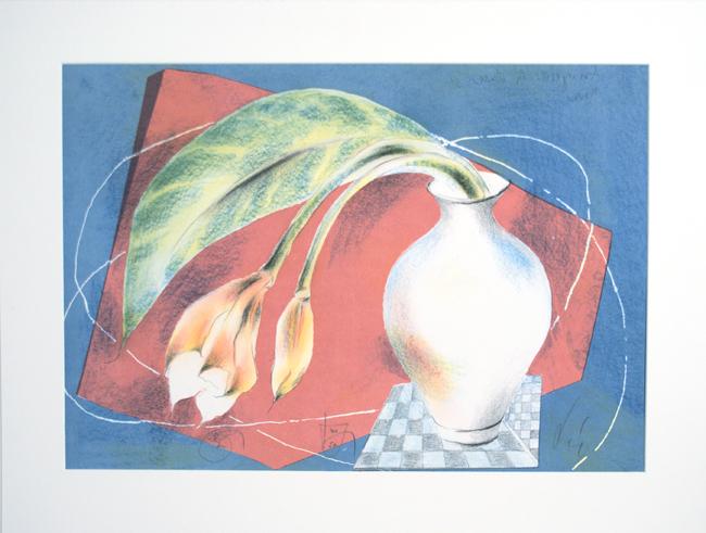 Dr. Laszlo Kova, Lithographie, `Amaryllis in Vase`, 40/50, sign., 64 x 45 cm