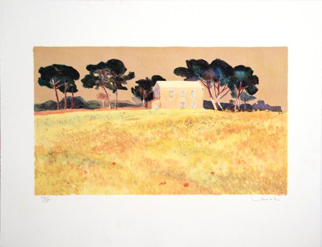 Alphonse Lanoe, `Pinien im Wind`, Lithographie v. 1991, 4/180, 64 x 50 cm