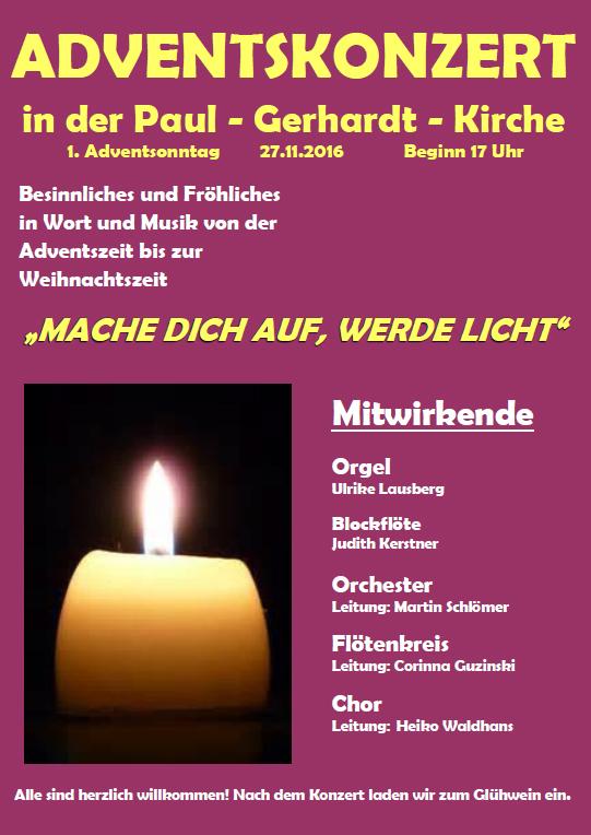 Adventskonzert: Paul-Gerhardt musiziert