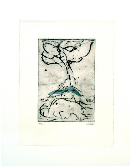 Monique Tello, Frankreich, Radierung mit blauer Collage, 10/16 sign., Blattgröße 25 x 33 cm