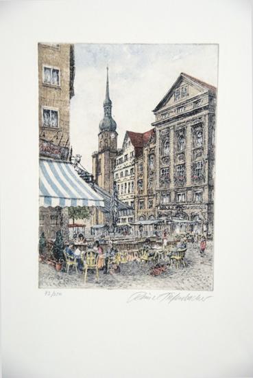 Rainer Tiefenbacher, `Der alte Makt in Dortmund`, Radierung, 73 / 350, sign., 32,5 x 40,5 cm