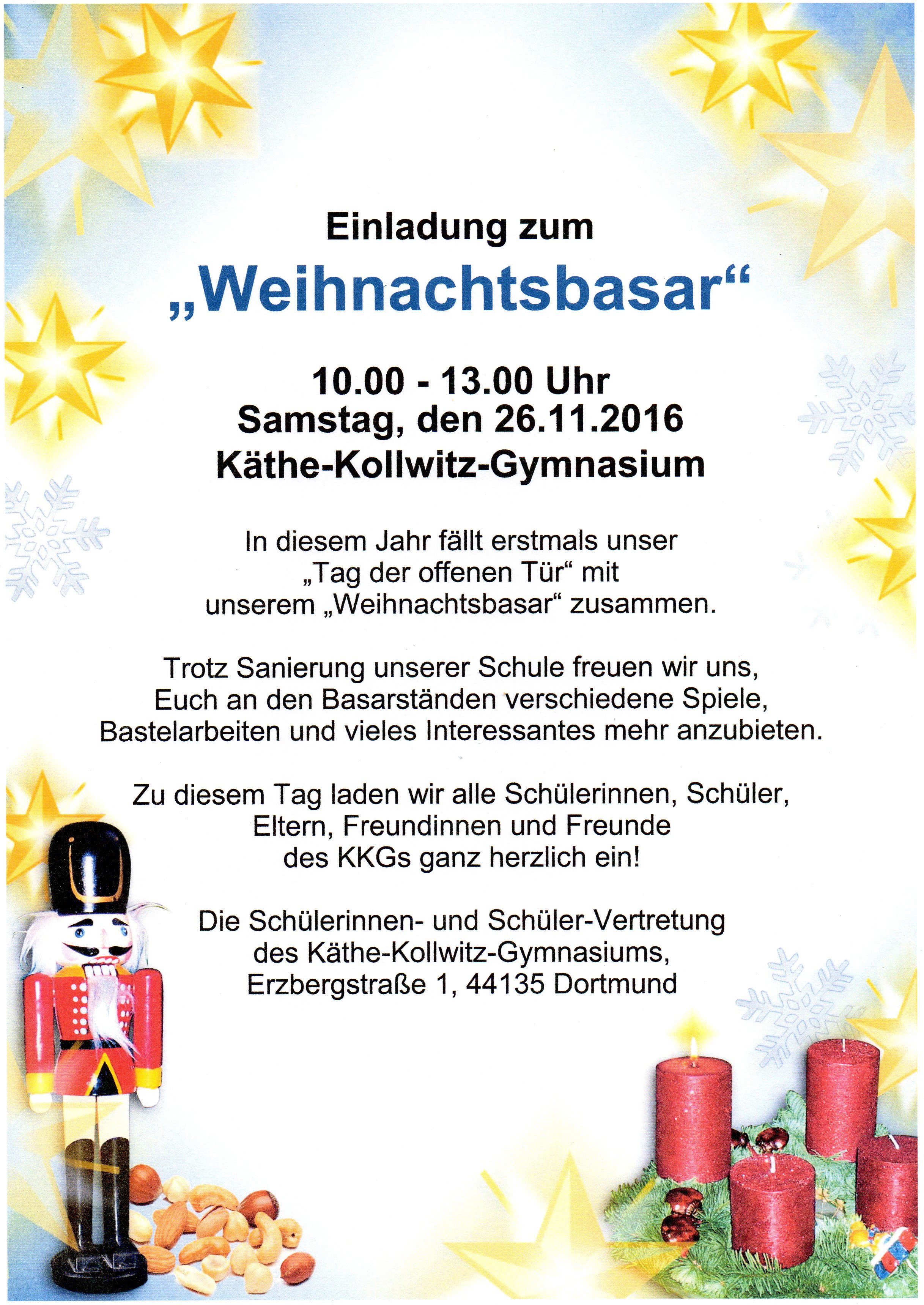 """Weihnachtsbasar und """"Tag der offenen Tür"""" im Käthe-Kollwitz-Gymnasium"""