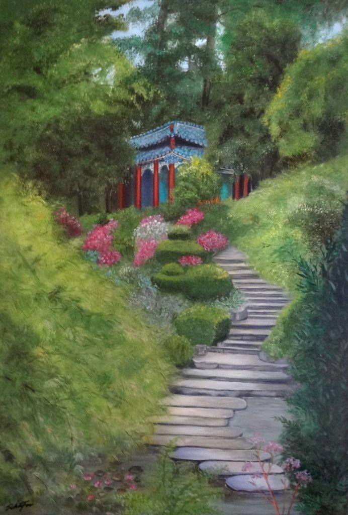 Japanischer Garten (Westfalenpark), Öl auf Leinwand, Elfie Schäfer