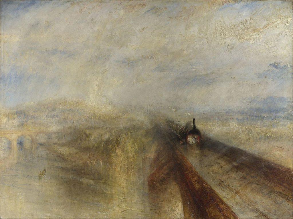 """Gemälde """"Rain, Steam and Speed – The Great Western Railway"""" (Regen, Dampf und Geschwindigkeit – die Great Western Railway) von William Turner aus dem Jahr 1844. Wie Fontane ließ auch Turner die Errungenschaften des Industriezeitalters in seine Kunst einfließen. © National Gallery, London"""
