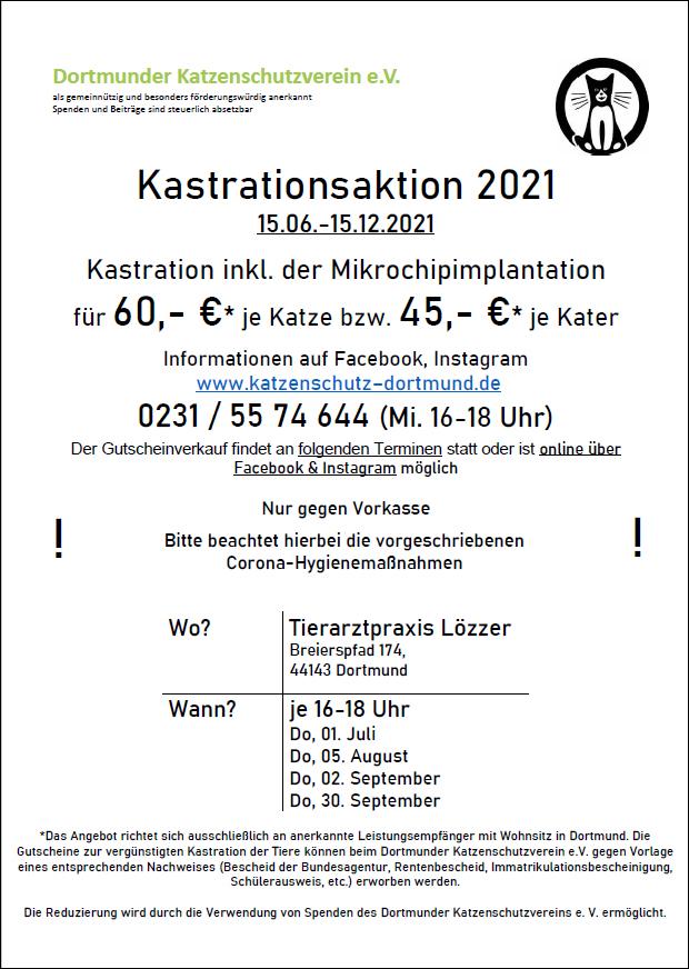 Der Dortmunder Katzenschutzverein informiert über Kastrationsaktion 2021