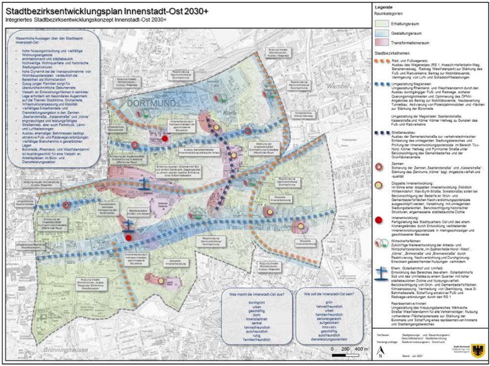 Stadtbezirksentwicklungsplan (STEP) Innenstadt-Ost 2030+ (s. Kapitel 6.2); Quelle: eigene Darstellung, Stadt Dortmund, Stadtplanungs- und Bauordnungsamt